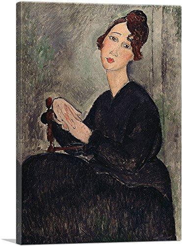 "ARTCANVAS Portrait of Dedie 1918 Canvas Art Print by Amedeo Modigliani - 40"" x 26"" (0.75"" Deep)"