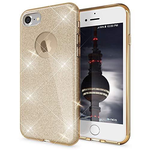 NALIA Custodia compatibile con Apple iPhone 7, Glitter Copertura in Silicone Protezione Sottile Cellulare, Slim Cover Case Telefono Protettiva Scintillio Smartphone Bumper - Oro Gold