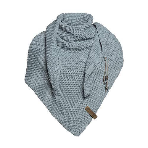 Knit Factory - Dreiecksschal Coco - Damen Strickschal mit Wolle - Hochwertige Qualität - XXL Schal - 190 x 85 cm - Stone Green