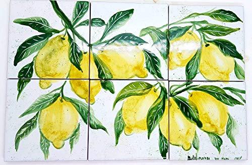 Pannello Decorativo Cucina cm. 30 x 20 Linea Limoni Dipinto a mano Pezzo Unico Le Ceramiche del Castello Nina Palomba Made in Italy