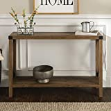 Walker Edison Sedalia Modern Farmhouse Metal X Entry Table, 46 Inch, Brown Reclaimed Barnwood