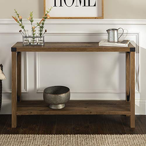 Walker Edison Furniture Farmhouse Sqaure Accent Entryway Table, 46 Inch, Brown Reclaimed Barnwood