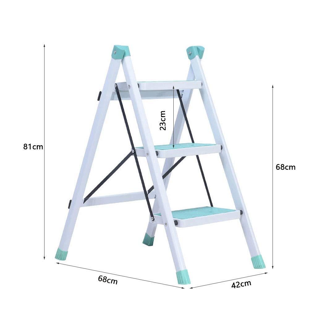 Escalerilla, Escalera De 3 Peldaños, Escaleras De Tijera con Pedal Antideslizante, Áreas Difíciles De Alcanzar En Cocinas Y Armarios, Capacidad De 220 LB (100 Kg) ++ (Color : Cyan): Amazon.es: Electrónica