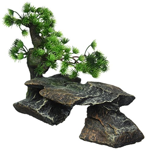 Pen Plax Bonsai Tree on Rocks Style 1 Aquarium Decor