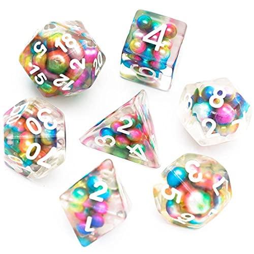 LIUYU Dados llenos de Cuentas de Colores Dados 7pcs Juegos poliédricos Dados Fijados para Juegos de Mesa