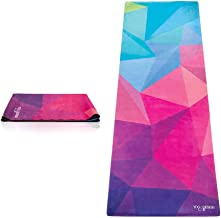 YOGA DESIGN LAB   The Travel Yoga Mat   2-in-1 Mat+Towel   Lightweight, Foldable, Eco Luxury   Ideal for Hot Yoga, Bikram, Pilates, Barre, Sweat   1mm Thick   Includes Carrying Strap!