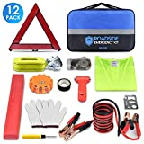 PACETAP Car Roadside Emergency Kit, Essential Auto Safety Road Side Assistance Tool Kit with LED Road Flare, Jumper Cables, Towing Rope, Triangle and More Winter Vehicle Accessories