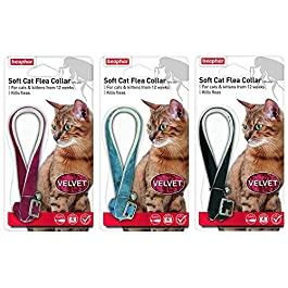 BEAPHAR VELVET CAT KITTEN FLEA TREATMENT COLLAR WITH BELL 3 PACK UP TO 1 YEARS PROTECTION