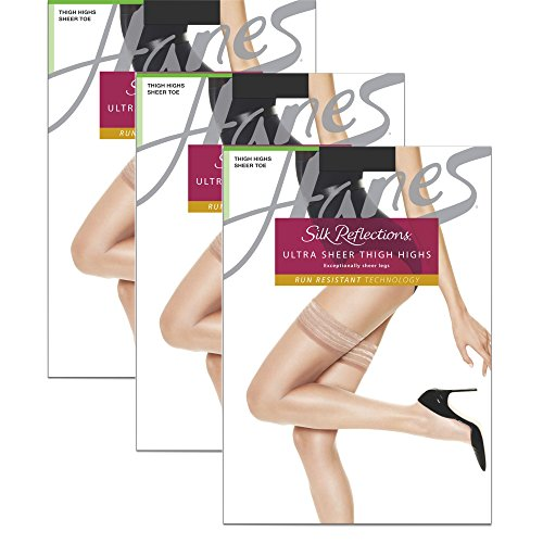 Hanes Wome`s Set of 3 Silk Reflections Women`s High Waist Control Top EF, Little Color