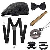 MMTX 1920s Jahre Herren Kostüm Accessoires Zubehör Set Flapper Mafia Gatsby Kostüm-Set mit Panamahut,Verstellbar Y-Back-Hosenträger, Fliege, Vintage Taschenuhr und Plastikzigarre -