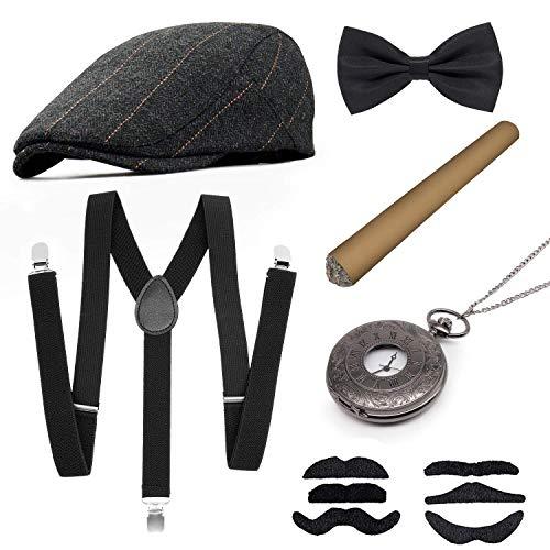 MMTX 1920s Accesorios de Disfraces para Hombre, Conjunto Flapper Gran Juego de Disfraces de Gatsby con elástico de Sombrero, Ligera con Espalda en Y, Corbata de Lazo, Reloj de Bolsillo Vintage