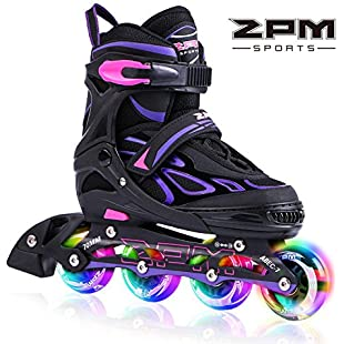 2pm Sports Vinal Girls Adjustable Flashing Inline Skates, All Wheels Light Up, Fun Illuminating Rollerblades for Kids and Ladies, Start Roller Skating Today! - Violet S