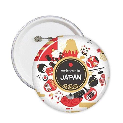 Welkom bij Japan Japanse Stijl Cultuur Theepot Sushi eetstokjes Kimono Meisje Lucky Kat Leuke Karper Sakura Illustratie Patroon Ronde Pinnen Badge Knop Kleding Decoratie 5 stks L