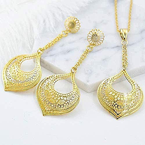 ZPPYMXGZ Co.,ltd Necklace Fashion Fashion Jewelry Earrings Pendants Jewelry Sets for Women Heart Hollow Out Water Drops for Party Wedding Daily Necklace Length 45Cm
