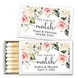 White and Pink Roses Perfect Match Personalized Matches for Wedding Favors - Custom Wedding Matches (Set of 50 Matchboxes) (White Box)