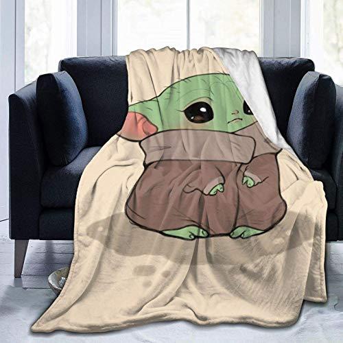 Baby Yodas - Coperta ultra morbida in micropile per bambini, con aria condizionata, ideale per divano, letto, per adulti, bambini, 50 x 40 cm