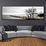 AYHBV Mural Paisaje Puente Escena Blanco y Negro Lienzo Pinturas Cartel Impresiones Pared Arte Cuadros para Sala de Estar decoración del hogar