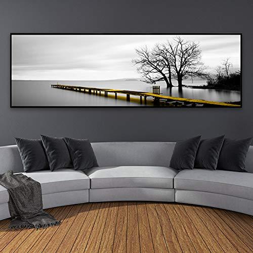DADABOX Lienzo Decorativo Paisaje Moderno Escena del Puente Pinturas en Lienzo en Blanco y Negro Carteles nórdicos Impresiones Imágenes de Arte de Pared para Sala de Estar Decora
