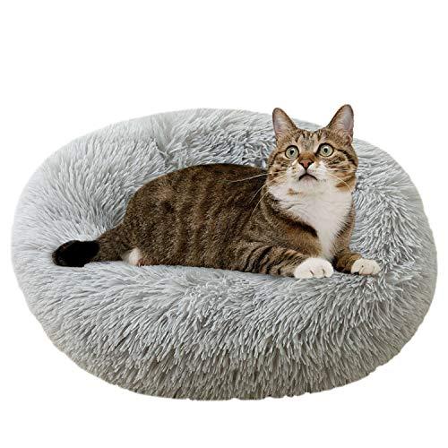 ComfyDegree Round Pet Beruhigendes Bett Katze, Hundewelpe Weiches warmes Kissen Zwingersofa, maschinenwaschbar und Rutschfester Schlafsack (Grau)