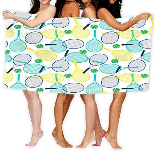 Toallas de Playa Natación Toalla de Camping Adultos Toalla de baño de SPA 80 x 130 cm Raquetas de Tenis Bolas Patrones sin Fisuras Elementos Animales