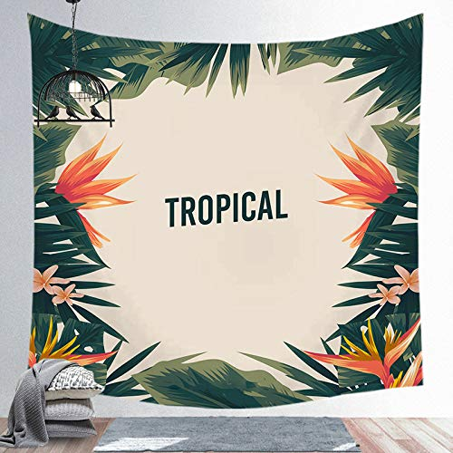 Rain Forest Green Tapestry Palm Trees Jungle with Wild Nature Decorations Colgante de Pared Decoración para el hogar para Sala de Estar Dormitorio Manta de Pared