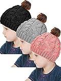 SATINIOR 3 Pieces Winter Ponytail Beanie Hat Messy Bun Knit Cap for Girls, Aged 3-12 Years (Black+Grey+Pink)