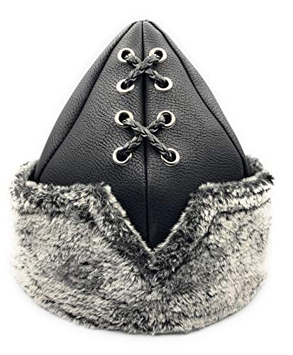 IYI Ertugrul Bey Mini Alp - Gorro para niños con logotipo de piel gris, decorado con hebillas y cuerdas (Ropa)