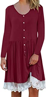LILICHIC Fashion Chic Women's Winter Fashion Round Neck Long Sleeve Solid Color Lace Panel Dress