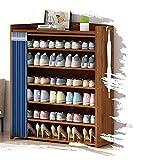 GAXQFEI Zapatero de Almacenamiento de Bambú, Estantes Abiertos para Zapatos, Zapatero de Almacenamiento de Gran Capacidad, Zapatero en la Entrada de la Casa, con Cortinas, Diseño a Prueba de Polvo/Ma