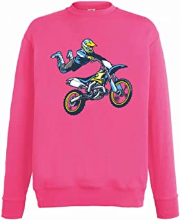 Druckerlebnis24 Sudadera – Motocross Trick Sprung Supermann – Sudadera unisex para niños – niño y niña