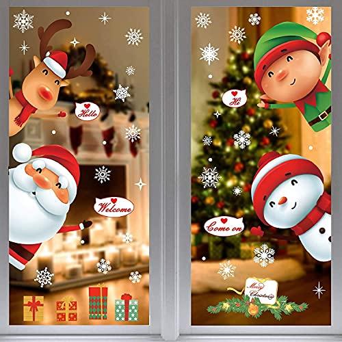 Navidad Pegatinas de Ventana,Tienda de Ventana Pegatinas de Pared Copo de Nieve Alce Árbol de Navidad Santa Claus Duende Regalo Decoraciones de Acción de Gracias Adornos Artículos de Fiesta DIY