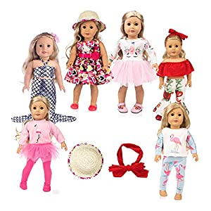 ZQDOLL 19 pcs Girl Doll Clothes Gift for 18-inch Doll Clothes and Accessories,