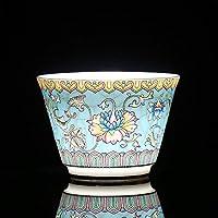 手描きの伝統的な中国のセラミックティーカップティーカップ、カンフーティーカップ、花と鳥のパターン-7