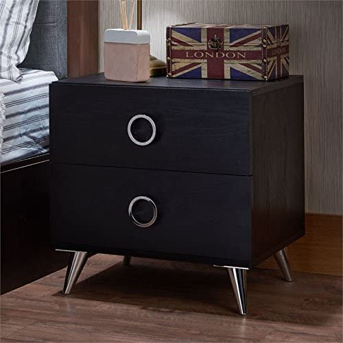BOWERY HILL 2 Drawer Nightstand Max 79% Kansas City Mall OFF in Black