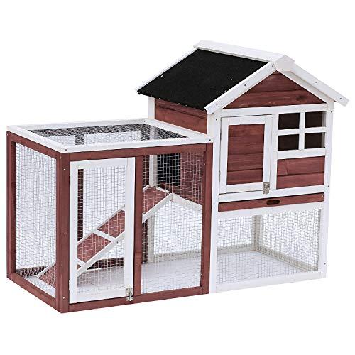 Pawhut Clapier Cage à Lapins Multi-équipé : Niche supérieure avec Rampe, Plateau excrément, fenêtre + enclos extérieur sécurisé 2 Portes 122L x 63l x 92H cm Rouge Brique