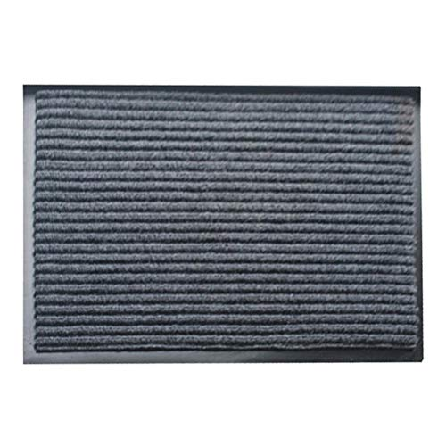 VORCOOL PVC Double à Rayures Motif Tapis d'entrée Tapis de Sol Lavable en intérieur ou extérieur Low Profile Paillasson Racloir Paillasson (Gris) – 40 x 60 cm