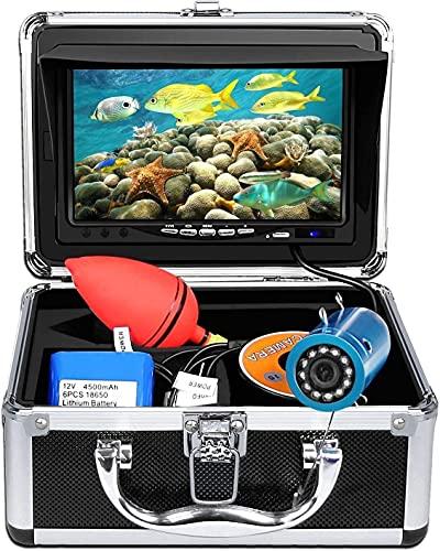 WSVULLD Cámara de pesca bajo el agua Finder de peces Monitor de 7 pulgadas Monitor 1000TVL Sistema de visualización impermeable IP68 12 PCS Lámpara LED con cable de 15 m para pesca de pesca de pesca d