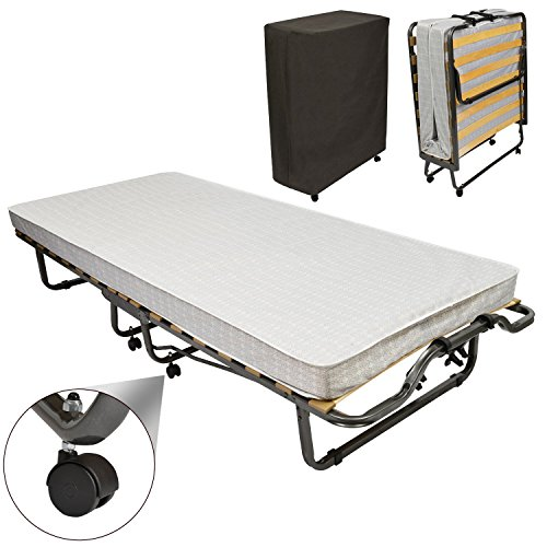 Beautissu Gästebett klappbar Venetia 90x200 cm Stabiler Metall-Rahmen Klapp-Bett inkl. Matratze und Schutzhülle
