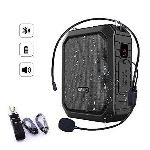 SHIDU Bluetooth Amplificador de voz 18W con auriculares con