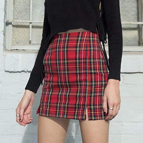 Falda Plisada para Mujer Casual Falda Inglaterra Estilo Plaid Slim High Cintura Zipper Paquete Hip Moda Mini Falda Lpiz-Rojo_Metro