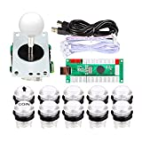 EG STARTS Classic Arcade Games Cabinet Kit USB Encoder to PC Joystick Handle + 5V Led Lights Push Buttons Compatible Arcade PC Game DIY Project &Mame & Raspberry Pi DIY Parts (White)