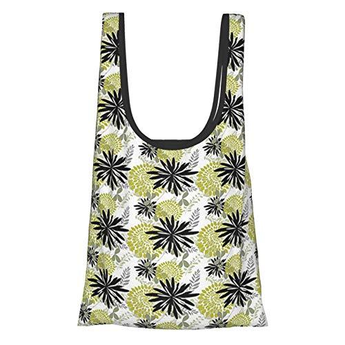 Einkaufstasche mit floralen Blumen und Blättern, modernes Design, Frühlings-Garten-Thema, Silber, Schwarz, Hellgrün, wiederverwendbar, umweltfreundlich, Einkaufstasche