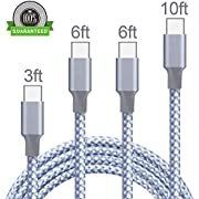 Vanzon USB Type C Cable, 5Pack 3FT 2x6FT 2x10FT Nylon Braided USB C Charger Cable Fast Charging Cord Compatible Samsung Galaxy S9/8 Plus Note 9/8, LG G6/7, Moto G6 Play, Google Pixel XL 3/3 XL-Black