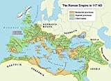 Map - Roman Empire in 117 CE Illustration Ancient History Encyclopedia Entrancing Maps of Us and Anchent Rome Vivid Imagery Laminated Poster Print-17 Inch by 22 Inch Laminated Poster