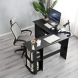 SogesHome SH-XTD-SC01-BK - Escritorio de esquina grande de 130 cm x 136 cm con 2 estantes, para el hogar, escritorio, escritorio, estudio, mesa de juegos, estación de trabajo