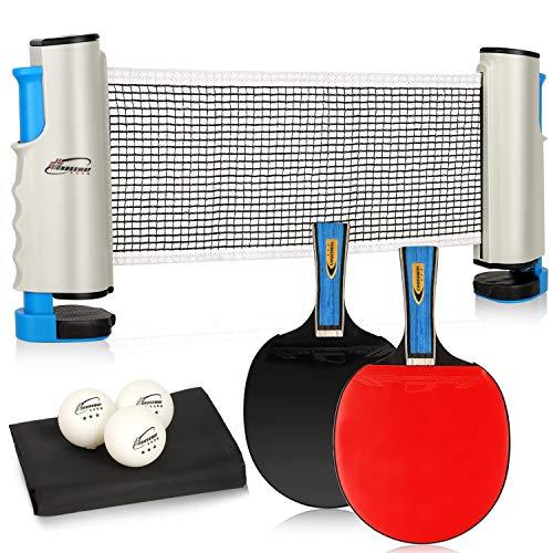 sixr 桌球 卓球ネット セット 卓球台 ラケット 卓球 (ラケット×2本 伸縮ネット×1 ボール×3個) ハンドバッグ き アウトドア レジャー 職場で 収納袋付き 手軽 簡単設置 セット