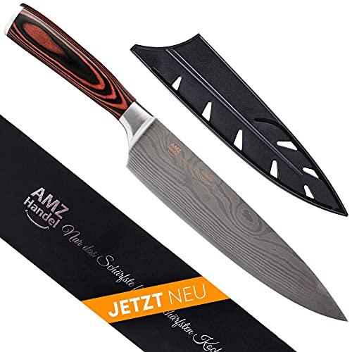 AMZHANDEL® Kochmesser | rostfrei | besonders handlich Dank Pakkaholz | extrem scharf | Profi Küchenmesser ideal als Kochmesser & Fleischmesser