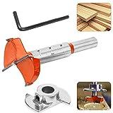 RMENOOR Forstner - Broca para carpintería, 35 mm, ajustable, broca de madera de carburo, con tope de profundidad y llave para bisagras de gabinete, placas de madera (rango de profundidad10 mm - 35 mm)