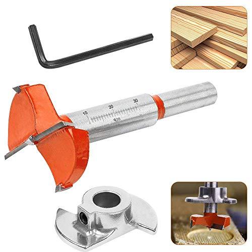 RMENOOR Forstner - Broca para carpintería, 35 mm, ajustable, broca de madera...