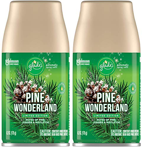 Glade Automatic Spray Refill - Pine Wonderland - Holiday Collection 2020 - Net Wt. 6.2 OZ (175 g) Per Refill Can - Pack of 2 Refill Cans